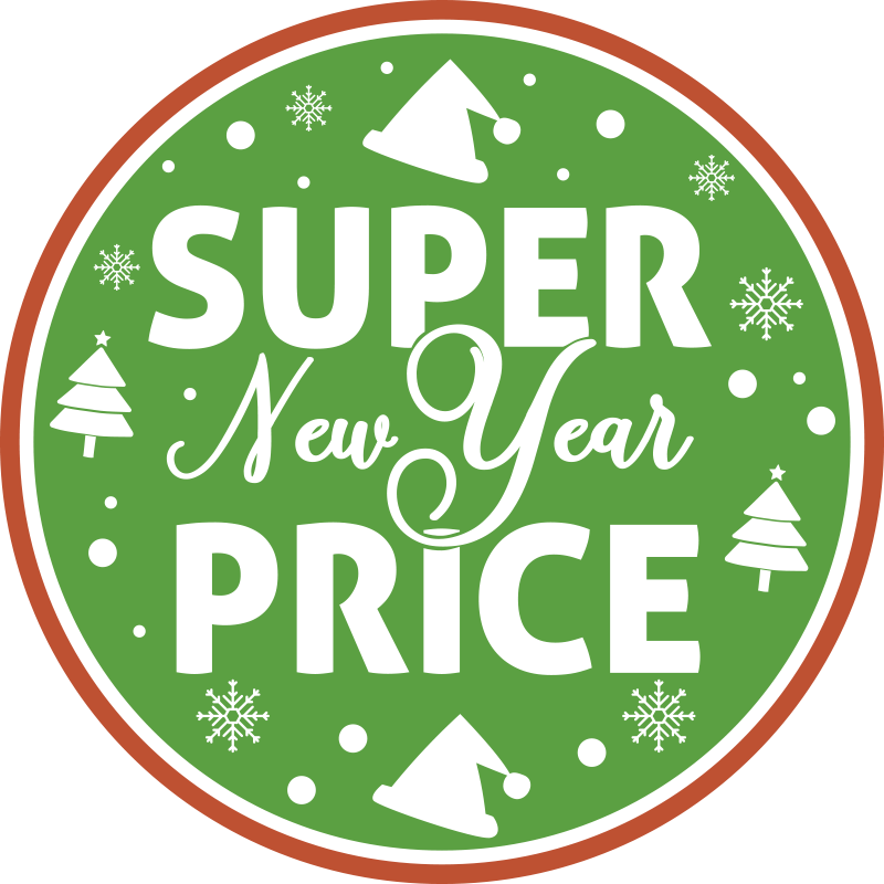 TenStickers. Green New Year sale wall sticker. Green new year sales sticker for your business place and shops. This high quality product is designed in a green circle with light, trees and stars.