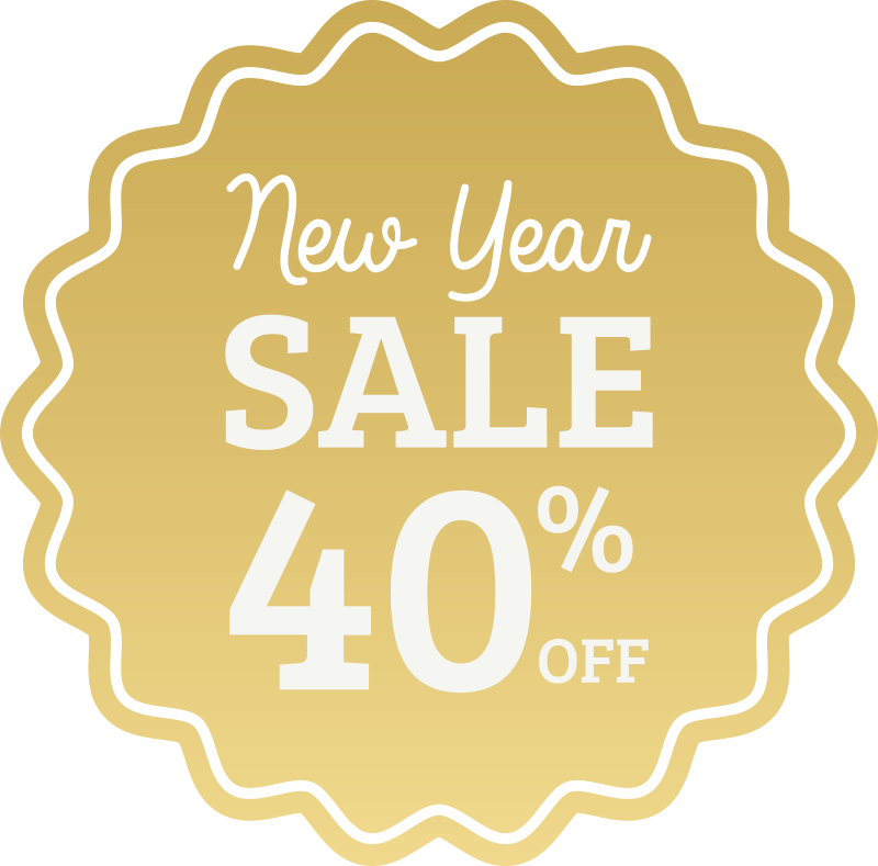 TenStickers. New Year best offer sale wall sticker. New Year best offer sale sticker designed in a yellow round crown shape with the promotional text in white colour.You can customise the promotion text