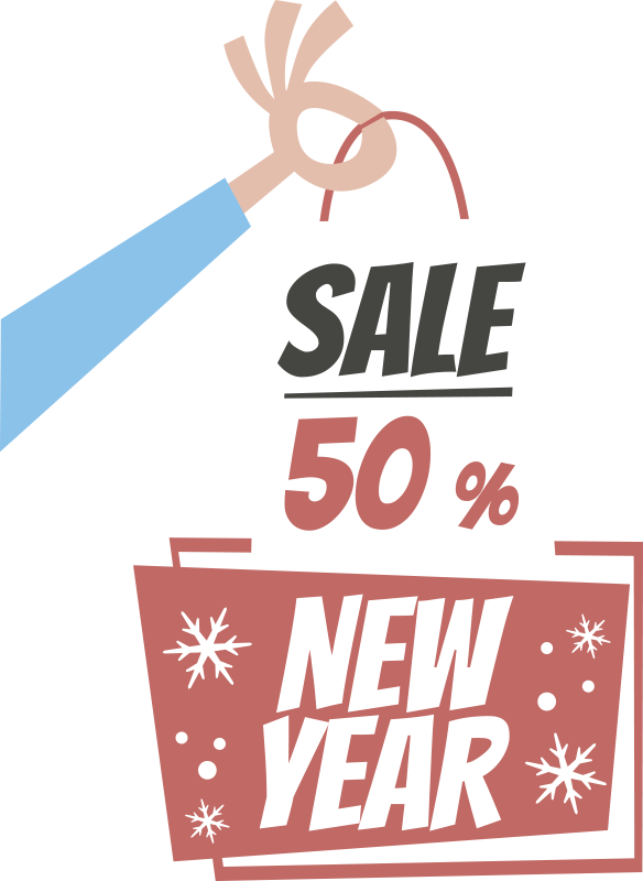 TenStickers. New year sale shopping bags sale wall sticker. New year sale shopping bags window decal for your business place or shop to promote sales. This design contains the promotional text in a bag.