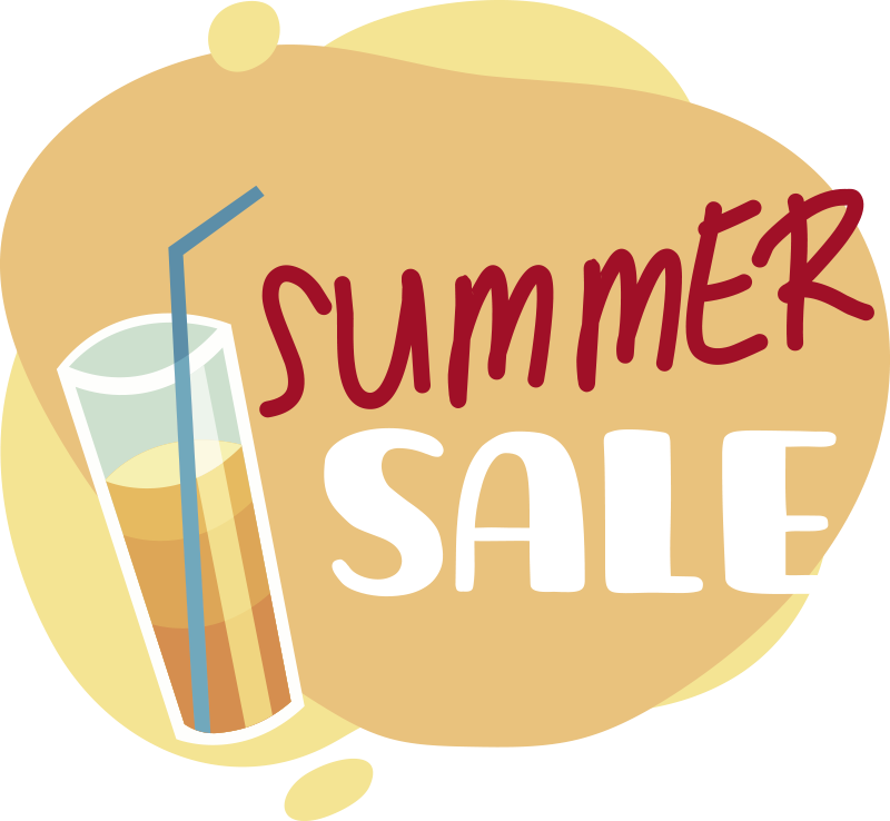 TenStickers. Summer sale items sale wall sticker. Summer sale items  sticker on your shop window to promote your business for customers. This product is a beautiful  design of what summer looks like.