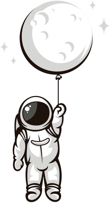TenStickers. Astronaut in space sticker. Astronaut in space  wall sticker for your kids living room and play room. This is a design of an astronaut in space and it can be in any size you want.