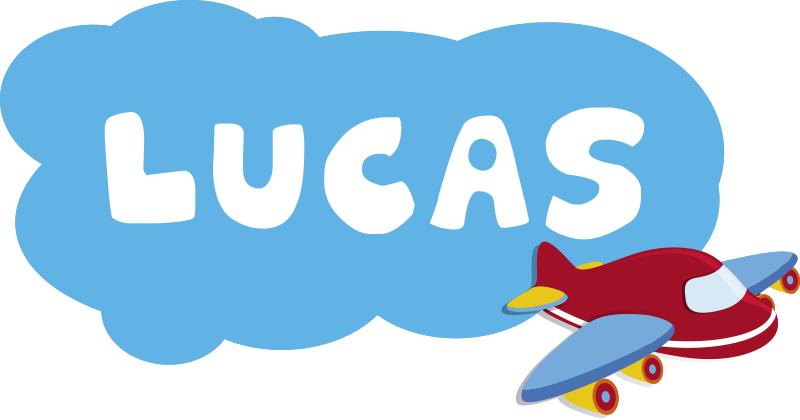 TenStickers. Named airplane and cloud illustration wall art. A named airplane and cloud illustration children wall sticker designed in beautiful colour that your child will love with his name personalised on it.