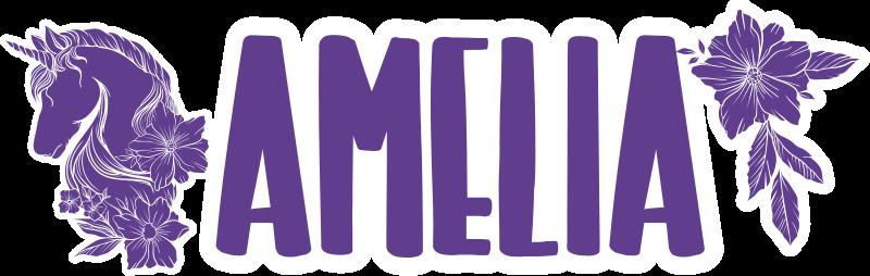 TenStickers. Aanpasbare mooie dieren muurzelfklevende sticker met eenhoorn fie. Een mooie eenhoorn dierlijke klantgerichte zelfklevende  fietssticker. Een ontwerp van een eenhoorn, een bloem en een tekst die met om het even welke naam van uw keuze kan worden gepersonaliseerd.