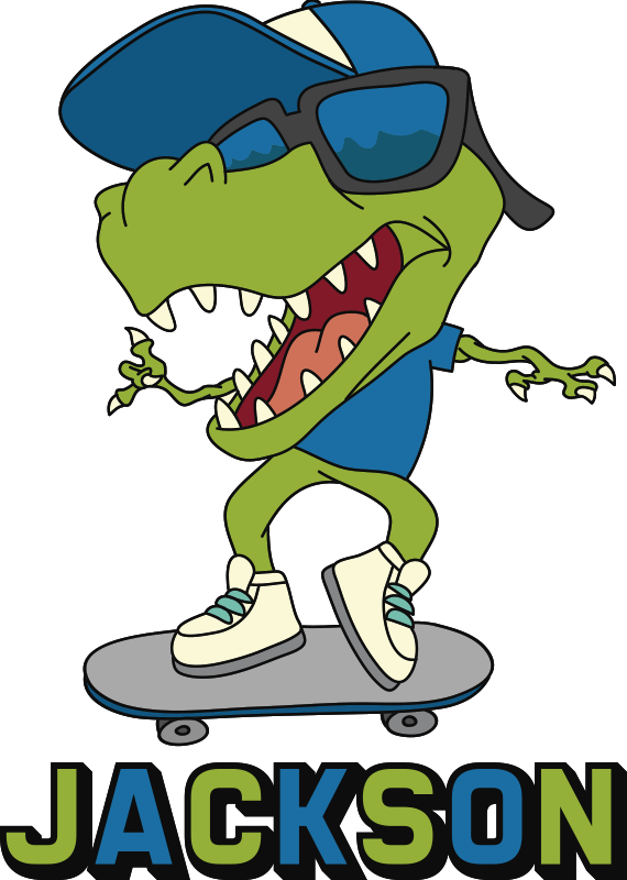 TenStickers. Dino skate with name wall decor. A  personalisable Dino skate with name wall sticker design of the character Dino on a rolling skate boar, using sunshades, a face cap and nice shoes.