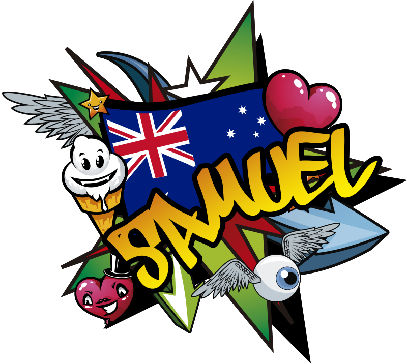 TenStickers. Graffiti Name australian flag urban decal. Excites your child with this product of graffit Australian flag in his bedroom. This is the design of the Australian flag the bird name character.