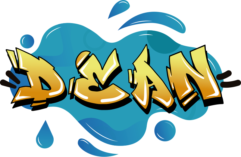 TenStickers. Graffiti Name splash texture urban decal.   Graffiti name splash texture urban sticker design in blue background with the name Dean is all you need to make that wall a difference in your home.