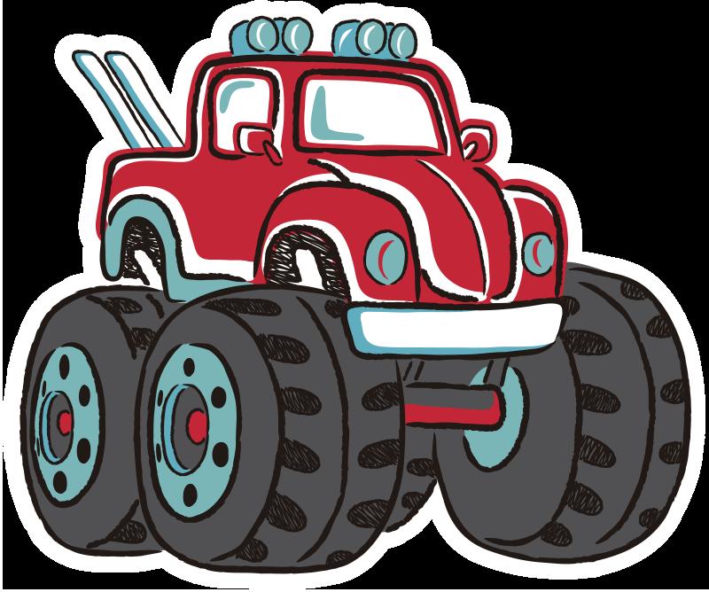 TenStickers. Nalepka avtomobilov pošast. Oblikovanje stenskih nalepk avtomobila s pošastnimi vozički in njegove težke velike pnevmatike v barvah, ki bodo prijetne v vaši otroški sobi. Lahko izberete svojo velikost.