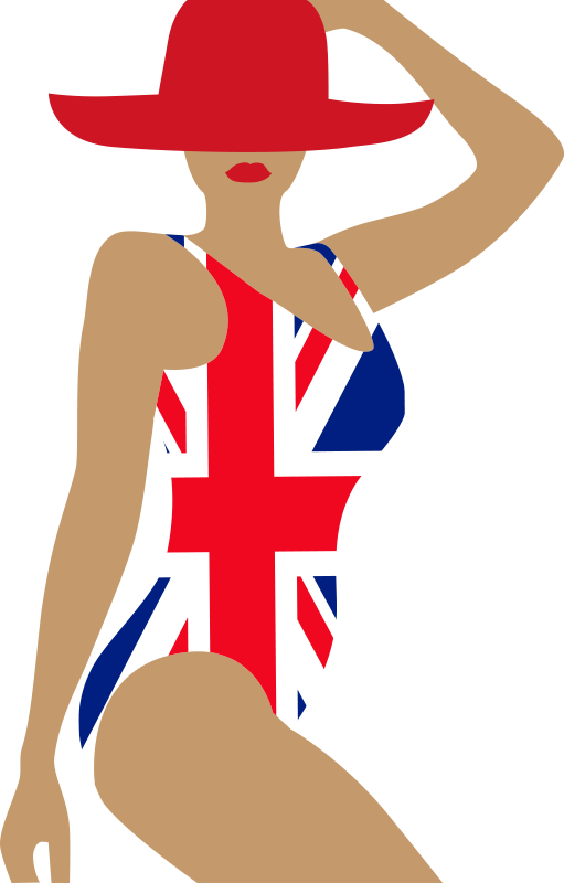TenStickers. Swimsuit Union Jack lady Adult Wall Sticker. A union jack  adult lady swim suit style wall sticker designed of a lady wearing a red hat. This design will change the face of your home with style.