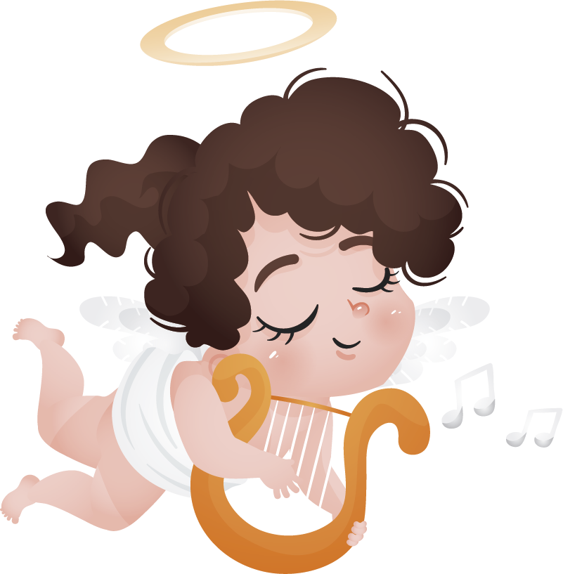 TenStickers. Playing Harp Girl Kids Sticker. Kids Wall Stickers - Fun and playful design great to encourage musical interests for children.
