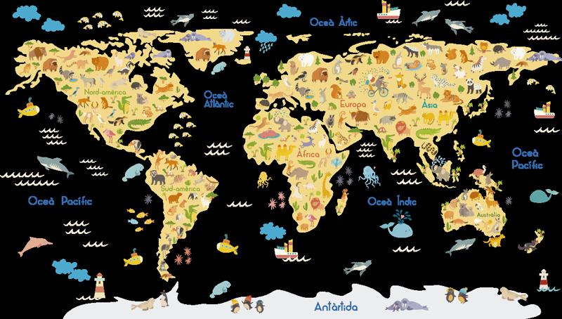 TenVinilo. Vinilo mamapundi catalán para pared. Vinilo pared mapamundi para niños con flora y fauna en catalán para que decores la habitación de tus hijos de forma original. Fácil de colocar.