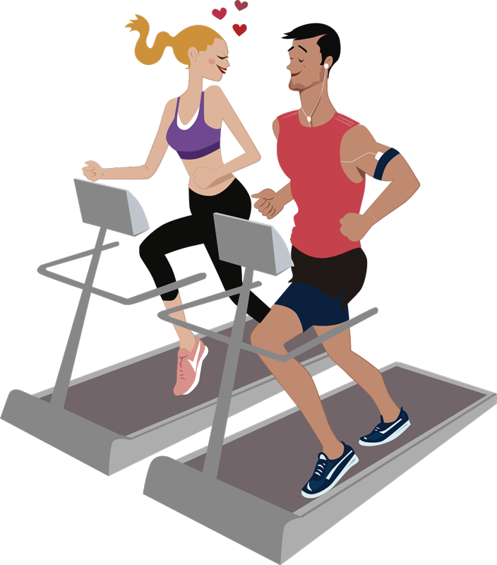 TenStickers. Couple in the gym wall decor. Couple in the gym vinyl wall sticker design of a lady and a guy on a treadmill running to lose weigh. This design can be applied at home or office.