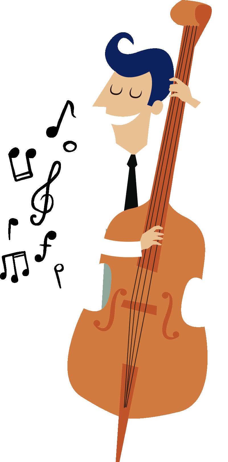 TenStickers. Autocolante de parede músico e contrabaixo. Autocolante de parede ilustrando um músico empenhado a tocar contrabaixo. Vinil decorativo que irá fazer o seu filho adorar o seu quarto!