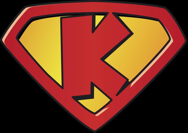 TENSTICKERS. スーパーkスーパーヒーローステッカー. 寝室または遊び場用のスーパーkスーパーヒーローキッズウォールステッカー。これは、子供向けの強いキャラクターを表す文字kのデザインです。