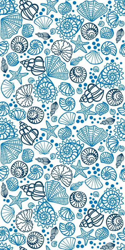TenStickers. 쉘 물고기 창 데칼. 불가사리, 문어, 해파리, 달팽이 등을 포함하는 바다 조개 동물 창 스티커는 파란색과 흰색으로 표시됩니다.