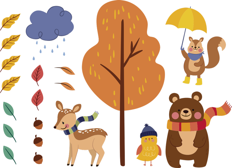TenStickers. Animal autumn environment wild animal sticker. Kids animal wall art sticker of autumn, This design contains animals on tree in beautiful bright colours that kids love. Easy to apply design.
