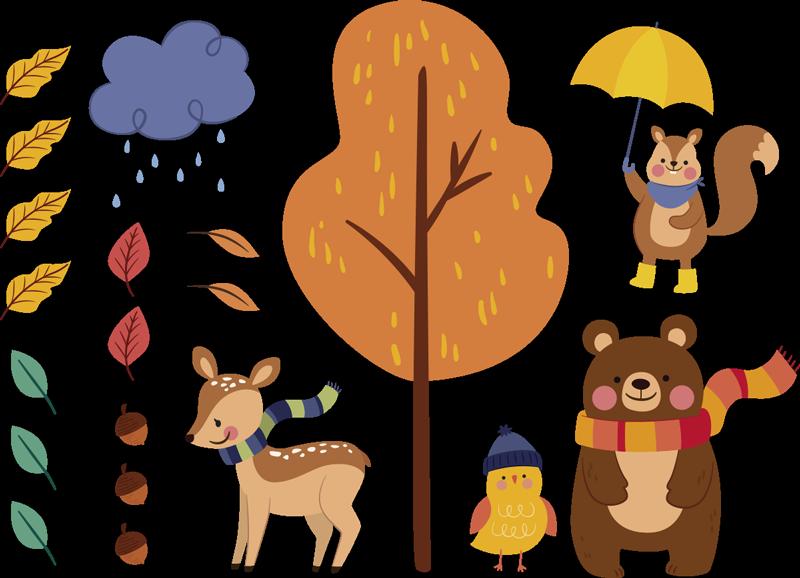 TenStickers. Animal automne environnement animal sauvage autocollant. Autocollant d'art mural pour enfants d'automne, cette conception contient des animaux sur l'arbre dans de belles couleurs vives que les enfants adorent. Conception facile à appliquer.
