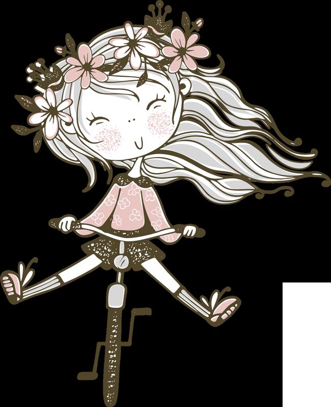 TenStickers. 꽃 머리 소녀 일러스트 벽 예술. 그녀의 자전거에 여자와 그녀의 머리에 꽃 아이의 방 스티커. 이 디자인은 당신이 사랑할 아름다운 색상으로 만들어졌습니다. 적용하기 쉬운 디자인.