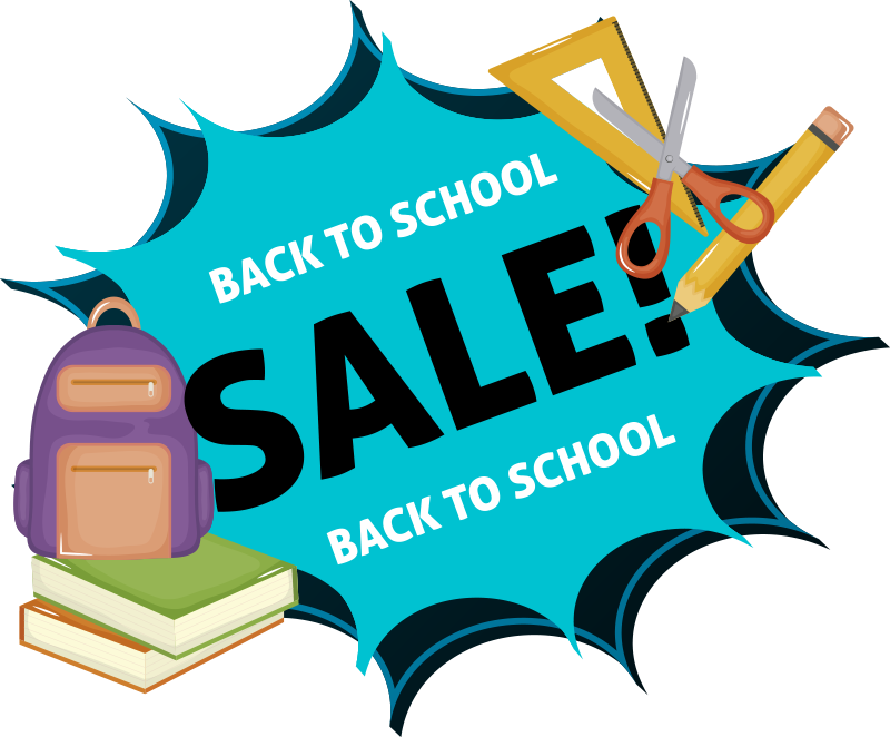 TenStickers. Back to school sale Typography Wall Sticker. A green frontal window business decal to apply in front of your shop to promote and advertise for your sales. This design is very easy to apply .