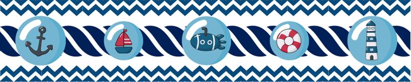 TenVinilo. Cenefa infantil decorativa estilo marinero. Una cenefa autoadhesiva creado con las características de un marinero que embellecerá la habitación de su bebé. Este diseño contiene características principales con la navegación.