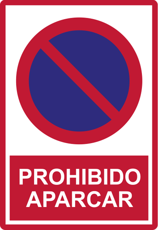 TenVinilo. Vinilo prohibido estacionar señal de tráfico. Vinilo adhesivo de señalización vial creado con un acabado de muy alta calidad que se puede utilizar en áreas públicas y estacionamientos comerciales. Diseño fácil de aplicar.
