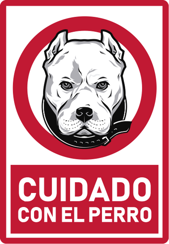 TenVinilo. Pegatina advertencia cuidado con el perro. Pegatina advertencia de mascotas para su lugar de negocios o su casa. Se crea con un perro y un texto que contiene el aviso ¡Envío a domicilio!