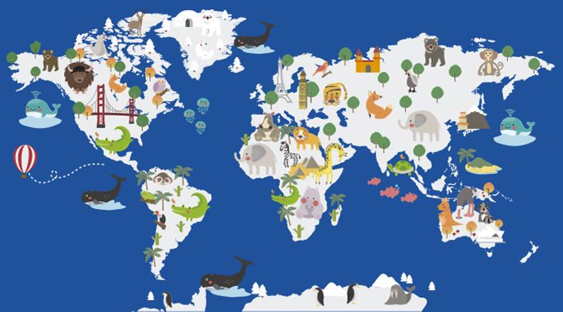 TenStickers. Vinil decorativo mapa mundo floral azul. Adesivo de parede mapa do mundo animal para crianças que pode ser aplicado no quarto ou na sala de estar. Esse design é bom para o aprendizado de tampas. Design fácil de aplicar.