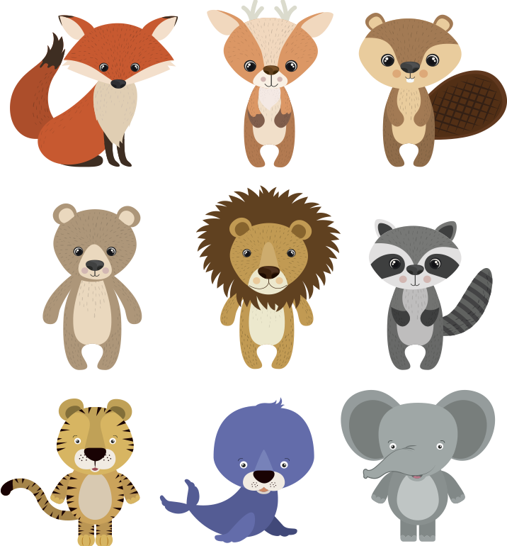 TenStickers. Decoration kt furniture decal. Kid's furniture sticker with animals that can be applied on the surface of  kids furniture. This design will amaze and make them happy. Easy to apply.