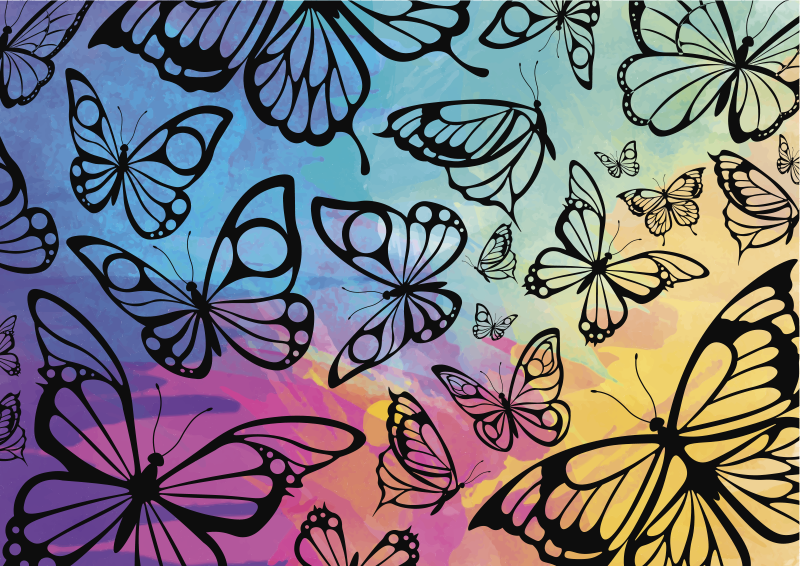 TenStickers. Butterflies for bathroom  furniture decal. Furniture sticker with beautiful butterflies design created on a colourful background to decorate your furniture surface at home.