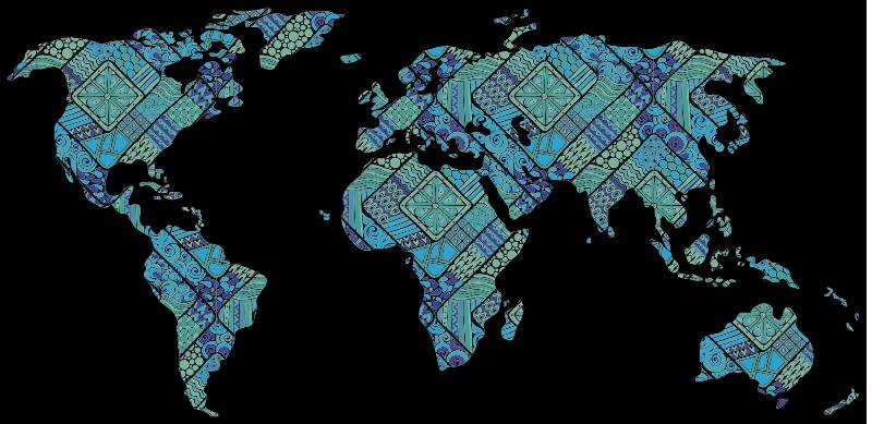TenStickers. Autocolante decorativo mapa mundo étnico. Um design espetacular num autocolante decorativo mapa mundo étnico criado nas cores azul e verde com um estilo étnico.