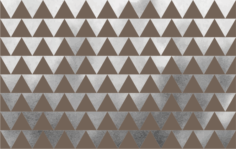 TenStickers. Decolteu mobilier triunghiuri gri și maro. Un autocolant decorativ pentru mobilier maro, creat în forme triunghiulare pentru a înfrumuseța și a defini suprafața mobilierului acasă. Design ușor de aplicat.