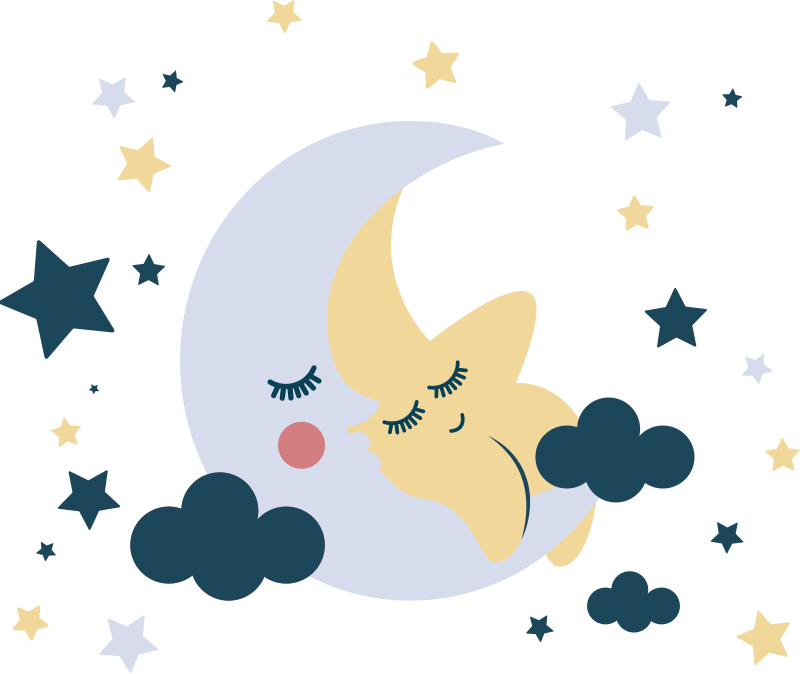 TenStickers. Moons and stars  space sticker. Space kids bedroom wall decal design created with stars, moon and cloud with a baby on it . Your child will love this design in the home.