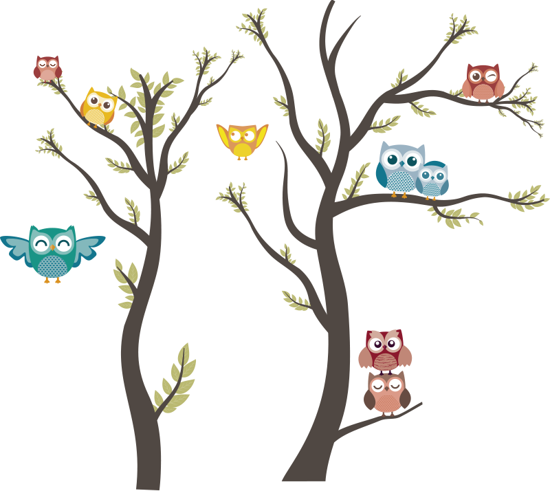 TenStickers. Owls pastel tones wild animal sticker. Animal with tree children bedroom wall sticker that is created in very nice cool colour to beautiful your kids room.Easy to apply, you can chose size.