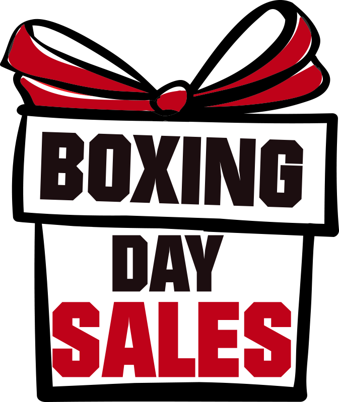TenStickers. Boxing day gift sales window decal. A business sales window decal for gifts. This design is created on a very beautiful red and white background with text and ribbon. Easy to apply.