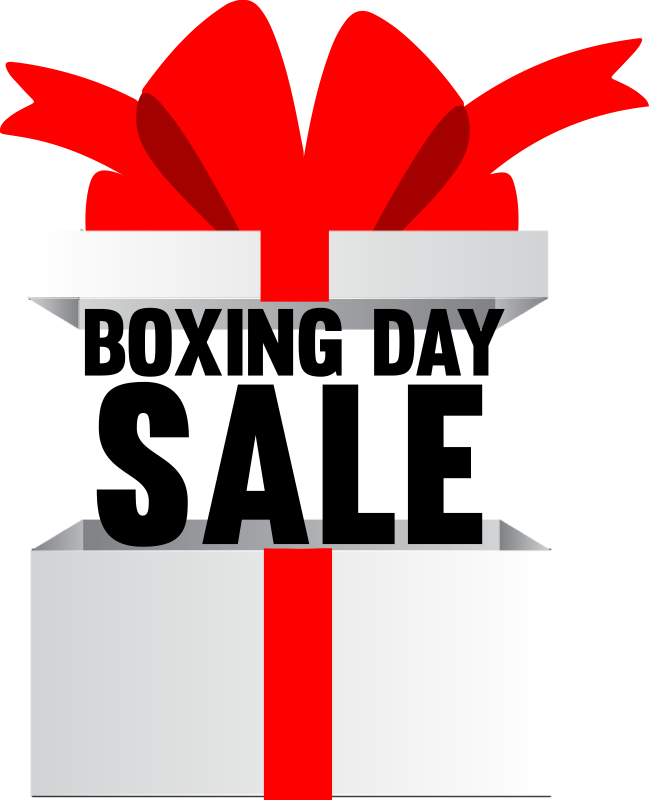TenStickers. Boxing day present window decal. Decorative business showcase window decal design in black coloured text on a white background and a large beautiful red ribbon. Easy to apply design.