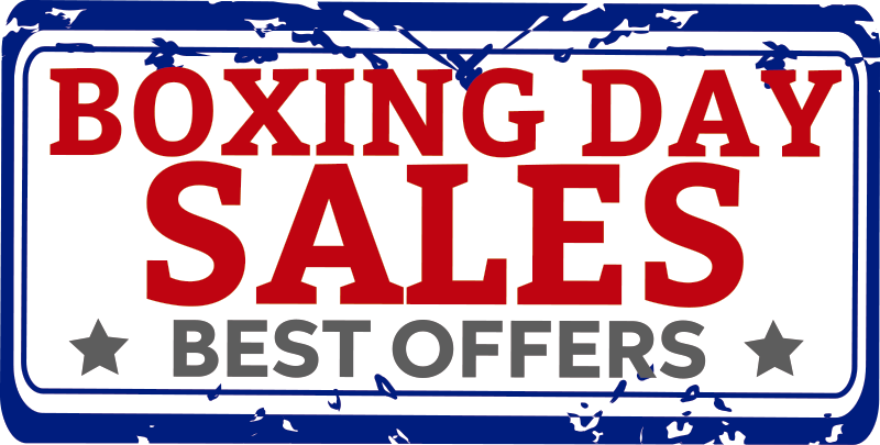 TenStickers. Boxing day sales window decal. Decorative shop sales window sticker designed on a beautiful background to help promote your sales. Easy to apply design and you can choose the size.