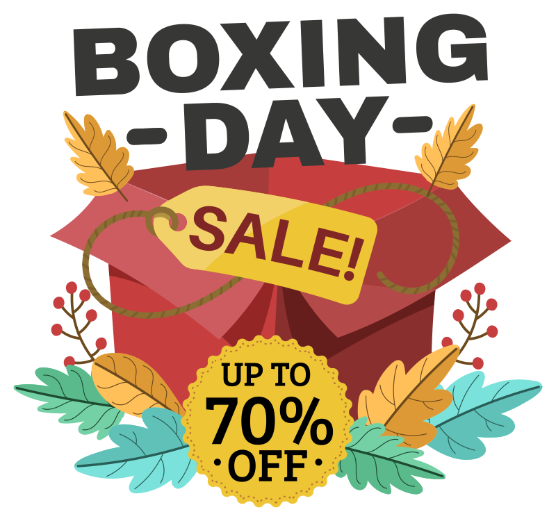 TenStickers. Boxing day sale present window decal. Window sales decal design created with gift presents in beautiful attractive colours to promote your festive  sale. Adhesive  and easy to apply design.