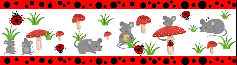 TenStickers. Friso autocolante decorativo infantil botânica. Autocolante decorativo infantil que os seus filhos podem usar para aprender novos animais, mantendo o seu espaço bonito. Fácil de aplicar.