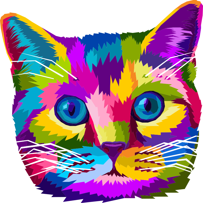 TenStickers. Colorful Cat  laptop skin. A laptop decal that is created of cat in very beautiful multi colour that you just want to use on your gadget. Easy to apply design.