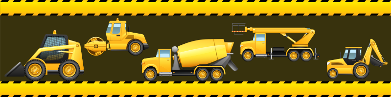 TenStickers. Digger border border sticker. Wall boarder sticker  design of  digger sets that you can decorate your home with ,to created a well defined surface. This design is easy to apply .