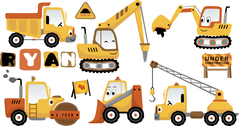 TenStickers. Digger Set toy decal. A colourful pack of digger set that you can customise the name of your child on to beautify the bedroom. This design is very easy to apply on surface.