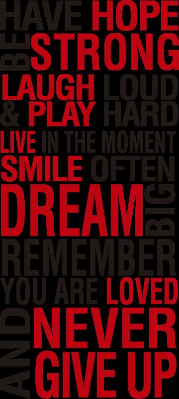 TenStickers. Imeti upanje in biti močna motivacijska stenska nalepka. Motivacijski stenski nalepka, ustvarjena z besedilom v rdeči in črni barvi, ki bo polepšala vaš dom in vas navdihnila ves čas. Easy za uporabo dizajna.