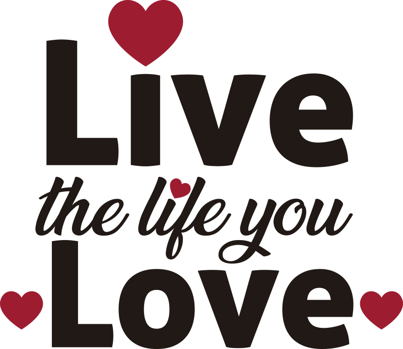 TenVinilo. Vinilo decorativo corazón frase vive tu vida. Vinilo pared de frase motivadora para la pared del hogar que es decorativa e inspiradora. Diseño bonito con corazones ¡Envío a domicilio!