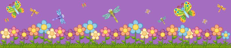 TenVinilo. Cenefa decorativa infantil lila con mariposas. Cenefa decorativa infantil de flores de primavera con mariposas en colores que será hermosa para decorar tu hogar ¡Medidas personalizables!