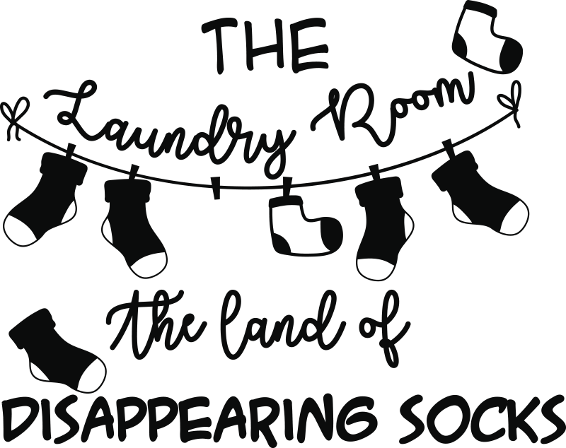 TenStickers. The laundry room home text wall decor. Laundry home wall decal design created with text and socked hung on cloth line with the sentence '' laundry room, the home of disappearing g socks''.