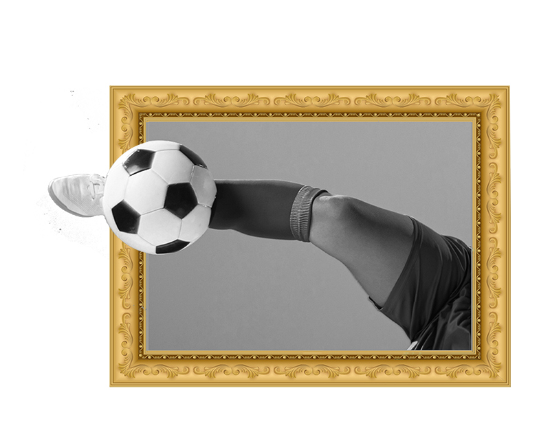 TenStickers. 3D Football Frame decal. A football visual effect wall art sticker created with a player, and ball. This design can be in the size of your choice. Easy to apply.