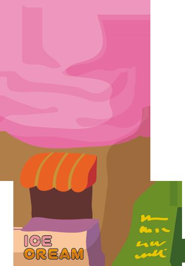 TenVinilo. Adhesivo kiosco de helados. Adhesivo de un tenderete de sabrosos y dulces helados en forma de cono. Para degustar desde la pared de tu habitación.