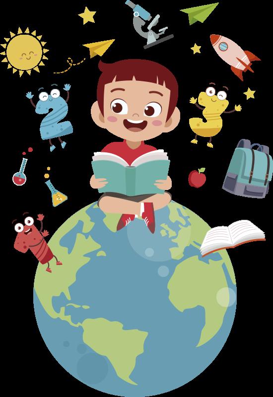 TenStickers. Naklejka dla dzieci latający świat. Edukacyjna naklejka ścienna do sypialni dla dzieci. Przedstawia siedzącego chłopca na globusie otoczonego różnymi przedmiotami.