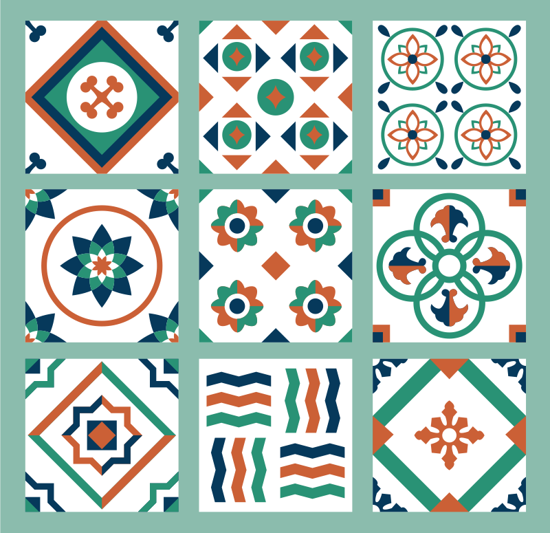 TenStickers. Tile Pattern furniture decal. Decorative tile textural patterned sticker design created with multiple shape style that you will love on the surface of your furniture.