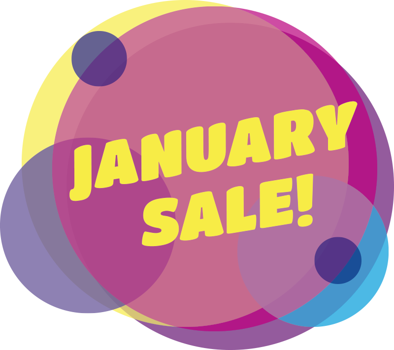 TenStickers. Circle January sale window decal. Decorative shop window decal for business sales that is created with very colourful style that you will love to apply on the surface for sales promo.