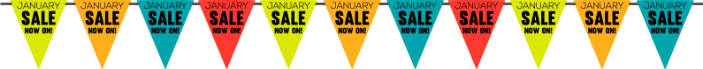 TenStickers. January sale bunting window decal. Decorative window sales decal that is created for your festive sales. This design will attract customers to you because of it beautiful display.